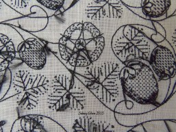 Blackwork Forehead Cloth - Embroidery Detail - Underside, by Sidney Eileen, flat silk on linen, underside or back of the work.