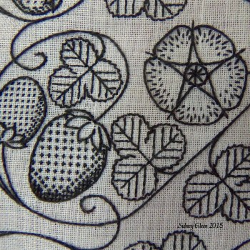 Blackwork Forehead Cloth - Embroidery Detail, by Sidney Eileen, flat silk on linen, Renaissance English style blackwork embroidery