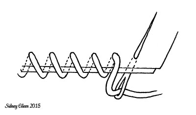 Whip Stitch Illustration, by SIdney Eileen, how to make a basic whip stitch at an edge.  Can be done around one or more layers of material.