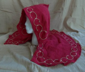 Red Open Hood, by Sidney Eileen - Linen, hand stitched and embroidered with linen thread.