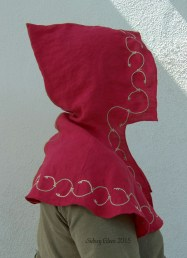 Red Open Hood, by Sidney Eileen - Linen hand stitched and embroidered with linen thread.