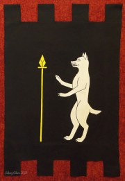 SCA Heraldric Banner for Ulfr Grimsson of the Kingdom of Caid. Acrylic paint on black cotton canvas. Made by Sidney Eileen.