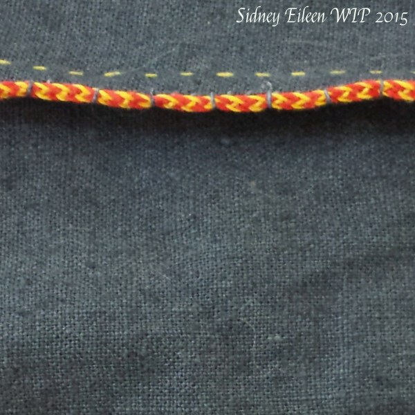 Viking 6-Strand Braid, by Sidney Eileen, Detail of the braid couched to the dart.