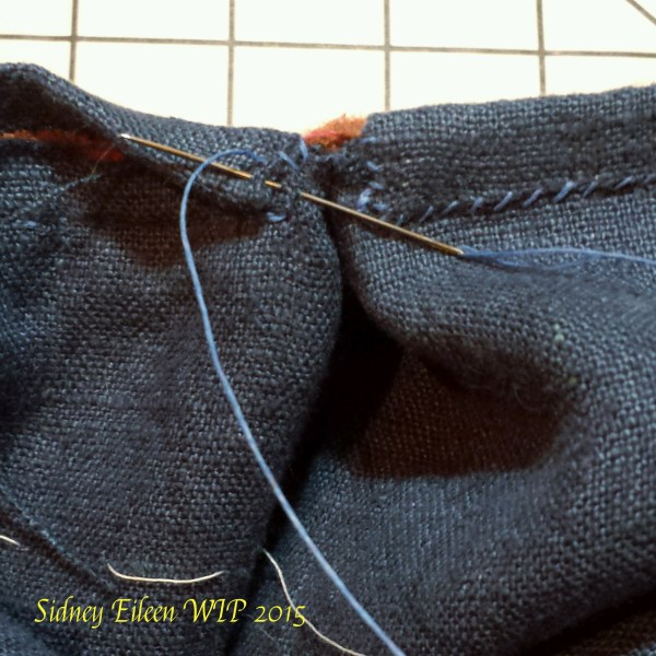 Lined Skjold Harbour Style Viking Hood - wip33, by Sidney Eileen - Whip stitch the short edge of the binding to the lining.