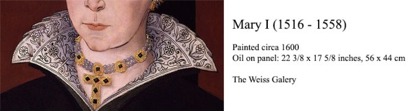 Mary I (1516-1558) - detail of freehand blackwork embroidery