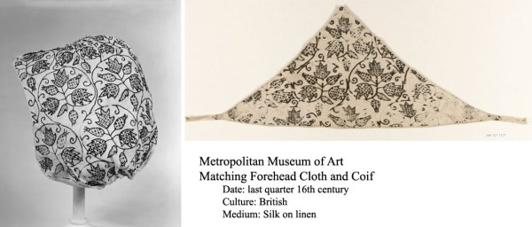 Freehand Blackwork Embroidered Coif and Forehead Cloth - The Metropolitan Museum of Art, http://www.metmuseum.org/collection/the-collection-online/search/228946 http://www.metmuseum.org/collection/the-collection-online/search/228945