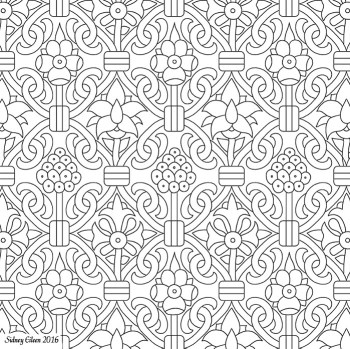 Freehand Blackwork Embroidery Pattern from Extant Panel, transcribed by Sidney Eileen