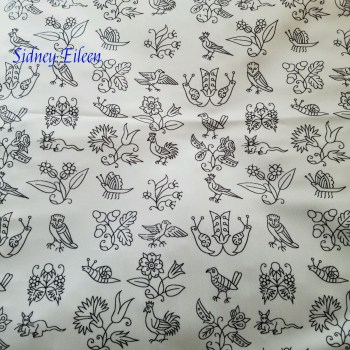 Elizabethan Blackwork Flowers, Birds, and Bugs on Spoonflower Fabric