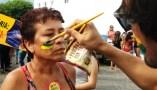 Popular se pintando de verde e amarelo em protesto em Caicó