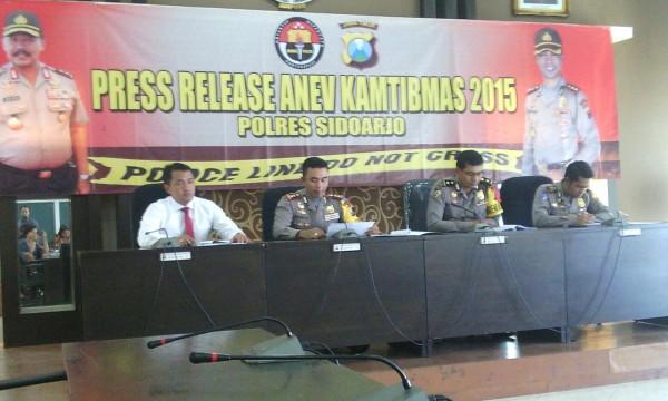 Kapolres Sidoarjo AKBP Muhammad Anwar Ibrahim saat press release Anev Kantibmas 2015