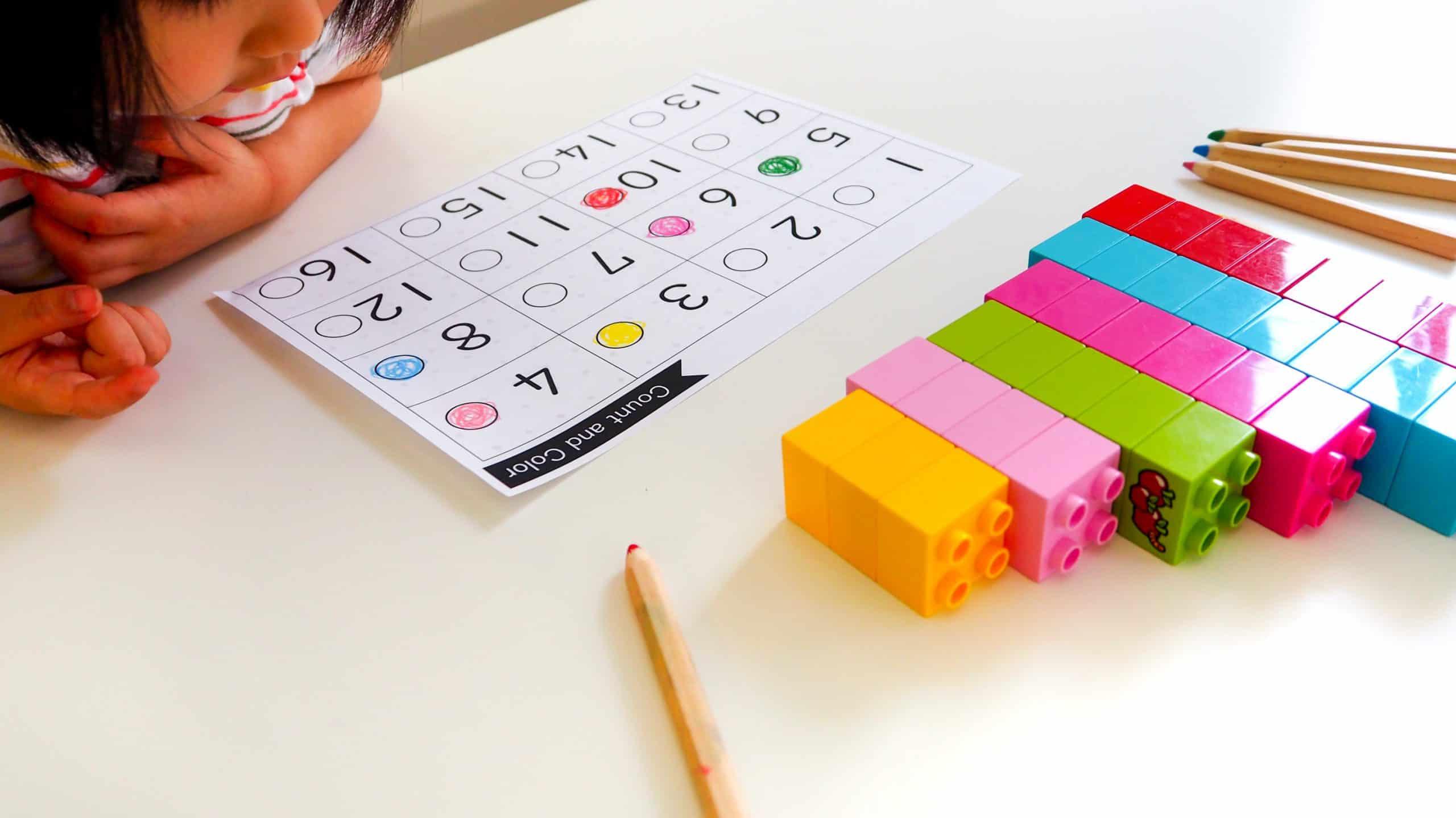 FUN 疊積木玩數數 與顏色配對遊戲 (免費圖檔分享) | 歐的樂星球