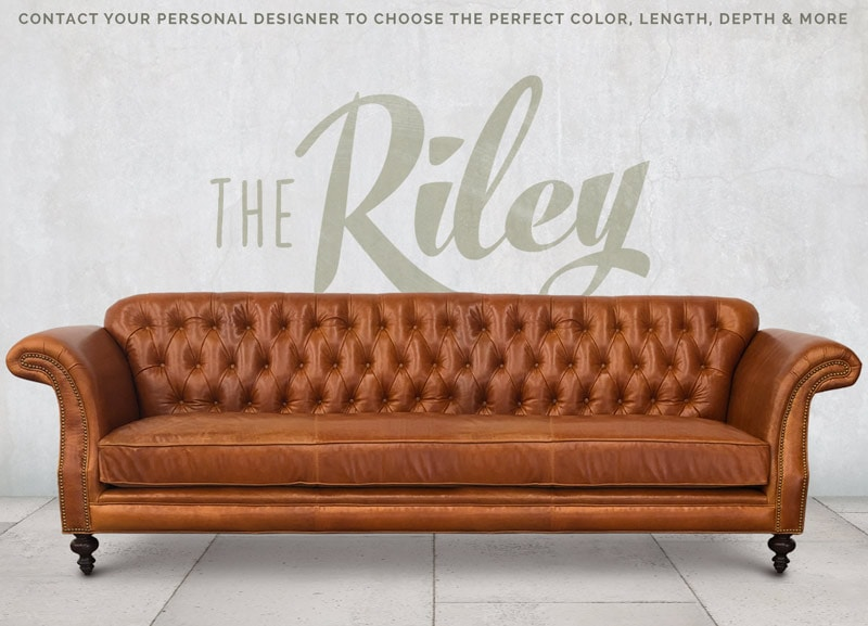 high back chesterfield sofa kid proof sofas affordable custom furniture of iron oak the riley scroll arm tufted in echo cognac leather