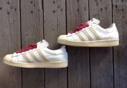 1980's leather Adidas Superstar Run DMC original shell top white 3 stripes made in France