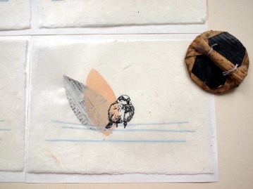 Sparrow, Linocuit Print/Collage, 2010. Limited Editon of 30