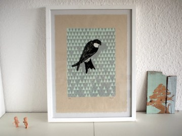 Swallow, 2011, Linocut Print, Limited Edition of 75