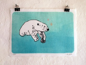 Polarbär, 2012, Linocut/Stamp Print, 15x20cm,Limited Edition