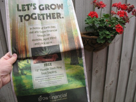 grow financial's earth day promo