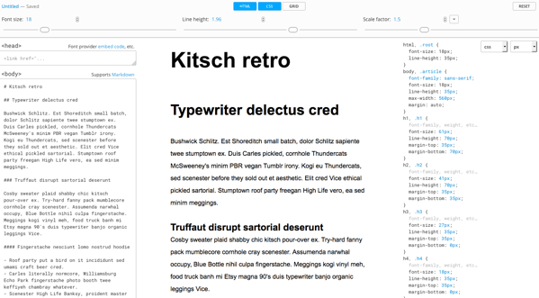 Gridlover CSS type