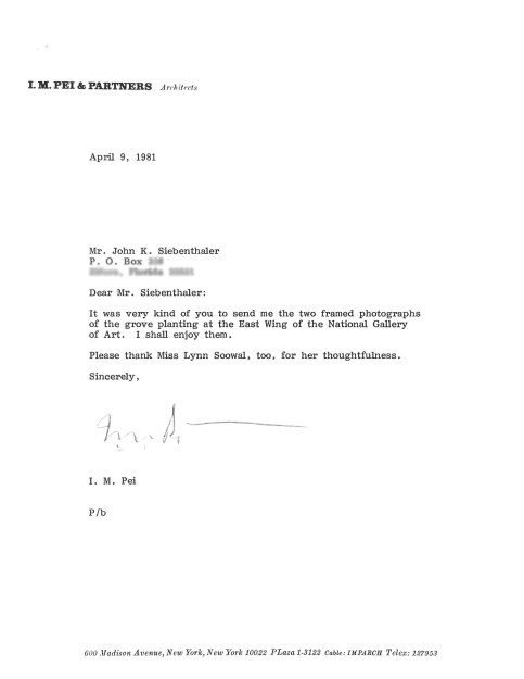 I.M. Pei personal note