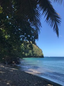 Schwarzer Strand mit türkisblauem Wasser