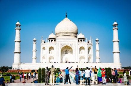 taj mahal foule 2 - agra - L Inde du Nord en quatre étapes - Asie, Inde