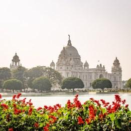victoria memorial fleurs rouges - kolkata - L Inde du Nord en quatre étapes - Asie, Inde