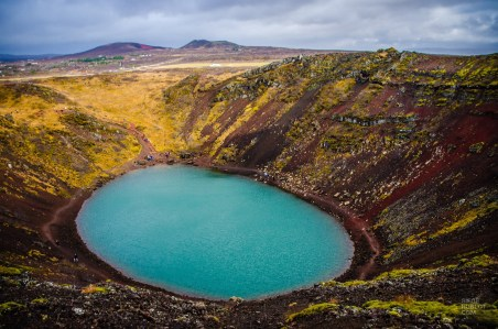 cratere lac fameux triangle d or islande europe