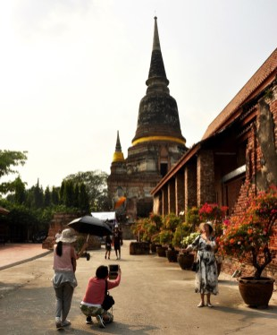 Temple et selfie - Ayutthaya, Thaïlande - Le parc historique d'Ayutthaya - Destination, Asie, Thaïlande