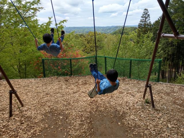 ツインリンクもてぎの自然を体験できるハローウッズの森は子供たちが走り回れて楽しい