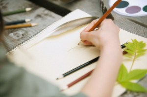 Close-up of student drawing a feather.