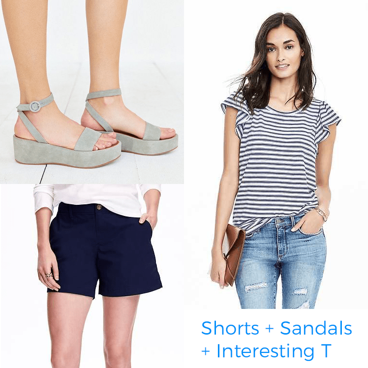 When it comes to planning a wardrobe, the combo of shorts, sandals, and and a better-than-basic T appeals to me.