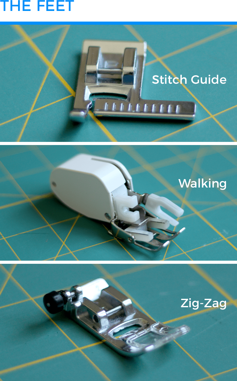 When performing my test for sewing knits with a sewing machine, I used a stitch guide foot, a walking foot, and a zig-zag foot.