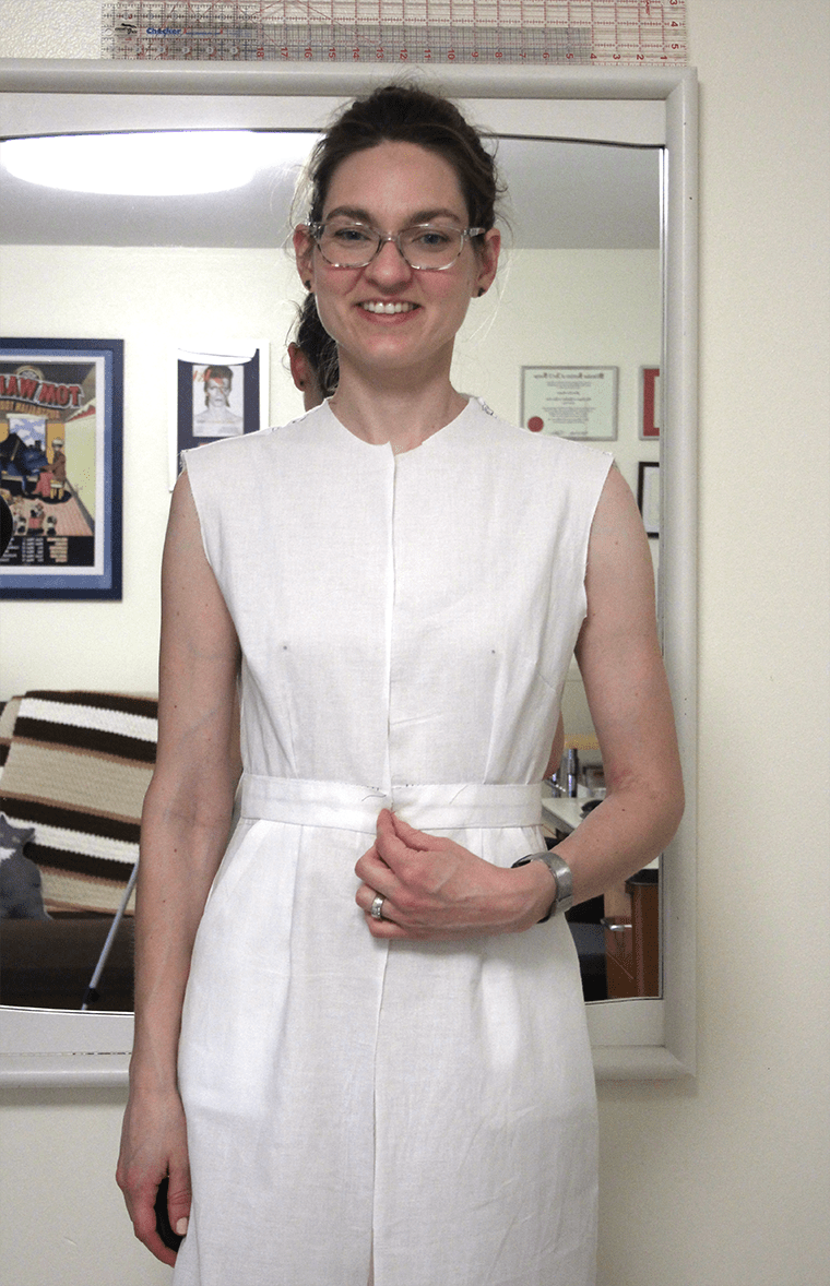 The front view of McCall's M6696 shirtdress.