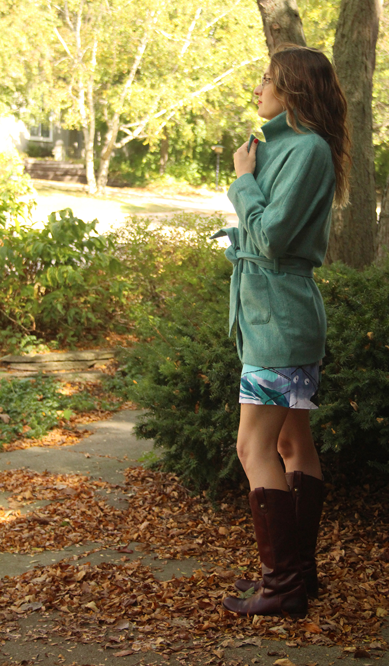 A side view of the Yona wrap coat.