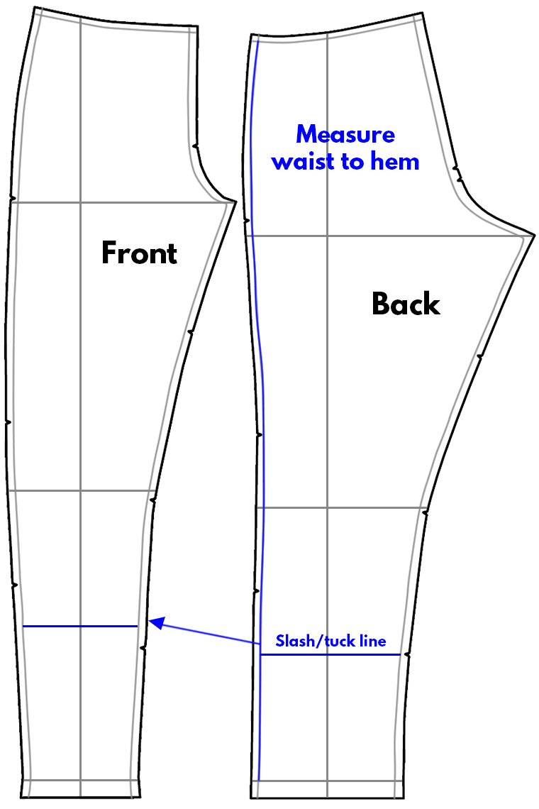 When altering pants pattern pieces for finished length, slash or tuck between the knee line and hem line.