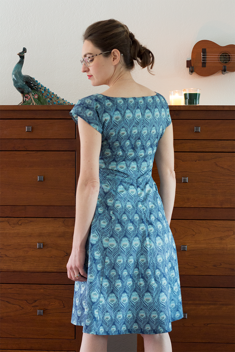A back view of the By Hand London Anna dress pattern.