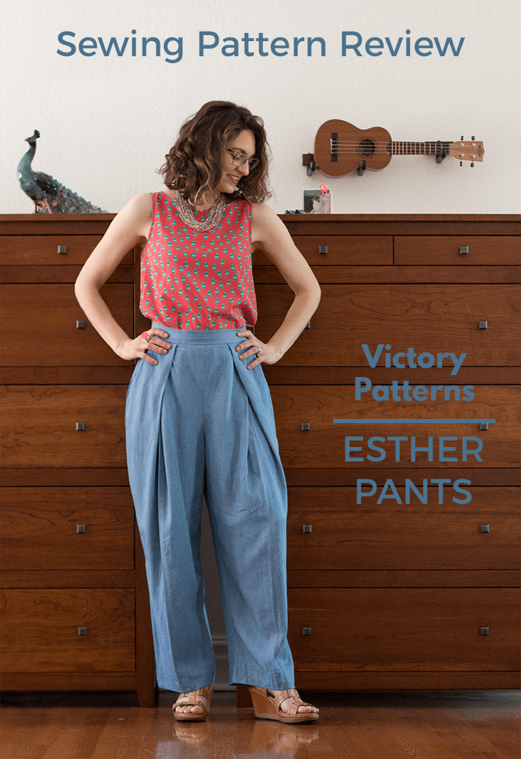 Read my sewing pattern review for the Victory Patterns Esther pants. These trousers offer tons of volume and wearability.