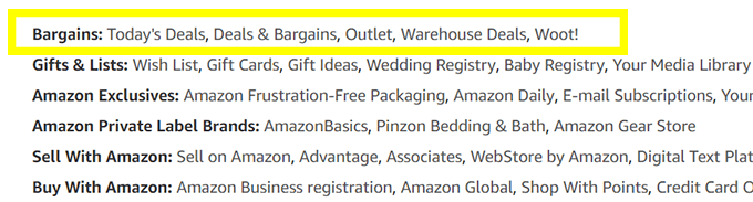 If you navigate to Amazon's full site directory, you can find links to its bargain pages.