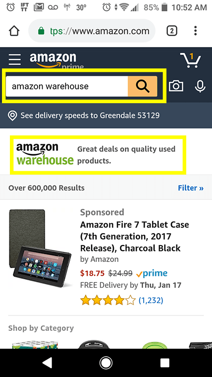 Here's how to access Amazon Warehouse via the mobile site.