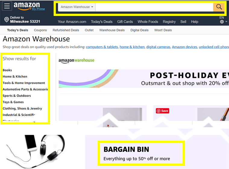 The Amazon Warehouse features a Bargain Bin of goodies 50 percent (or more) off.
