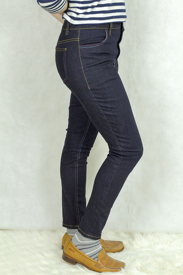 A closer side view of the Ginger jeans.