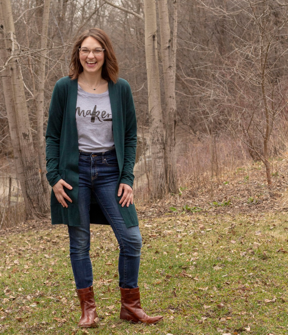 """This Blackwood cardigan is in bottle green, which my husband called """"1990s minivan green."""""""