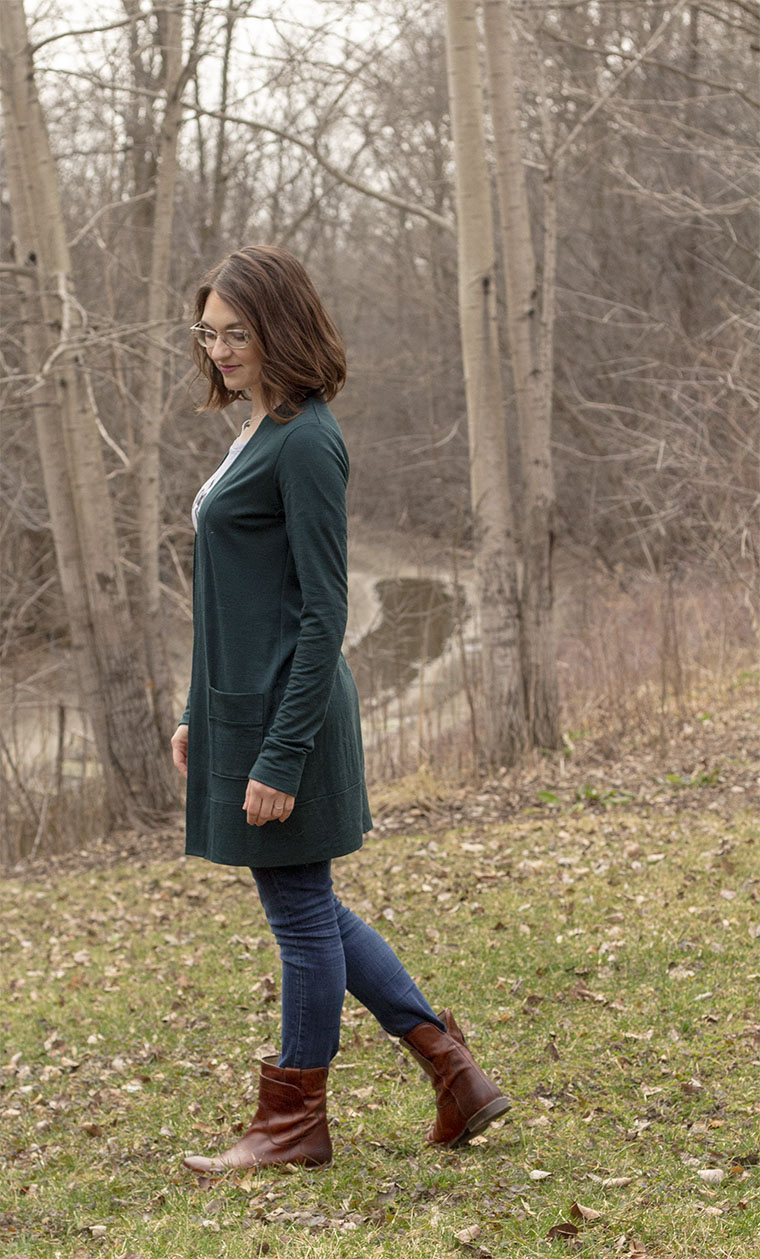 I sewed the long version of the Blackwood cardigan, because I like cardis that cover my bum.