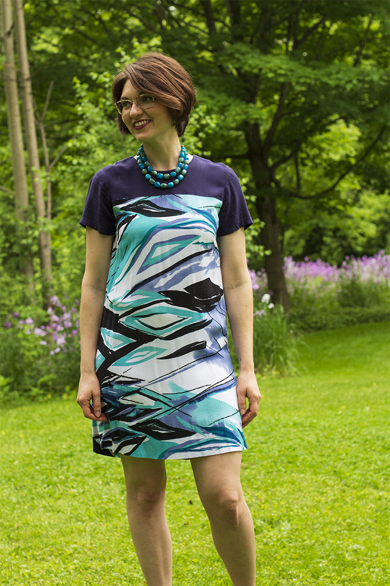 This shift dress, with its Bemberg rayon lining, helped me refine a technique for cutting slippery fabric.