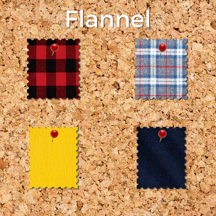 This collection of easy fabrics to sew includes snuggly flannel, whose surface ensure it doesn't slip away from sewists.