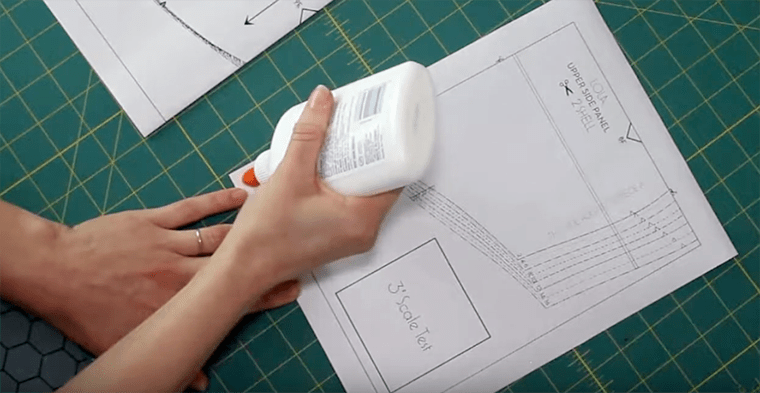 Apply a thin stripe of glue when assembling PDF sewing patterns using the fold-and-glue method.