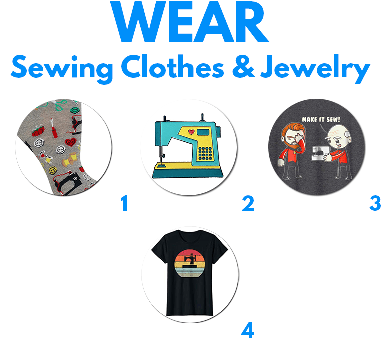 Show off love for sewing beyond the sewing room. Sewing-themed clothes and jewelry are delightful gifts for sewing lovers.