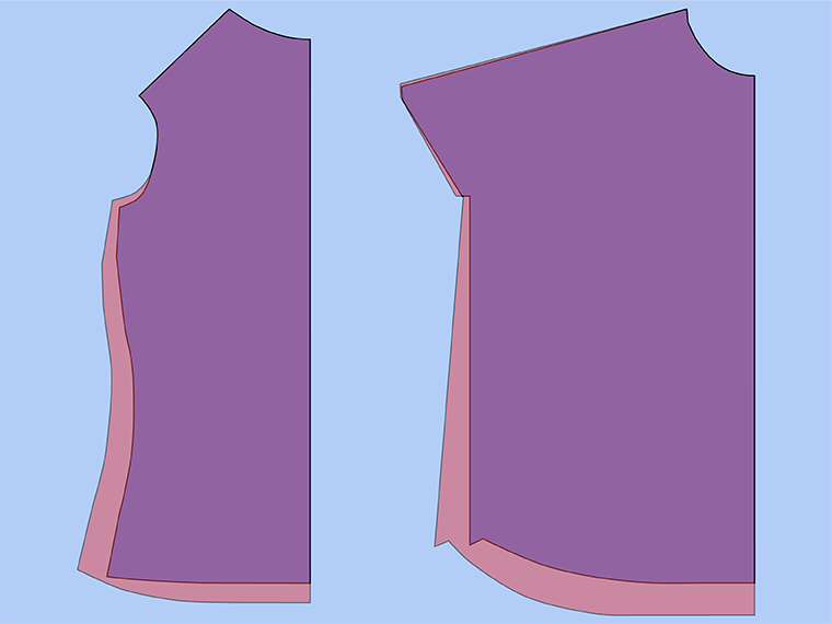 Bust adjustment on T-shirts. Here are the original pattern pieces and the pattern pieces with full bust adjustments.