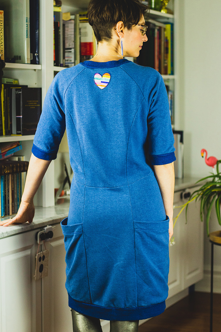 I added a patch to the back of my Lola sweater dress.