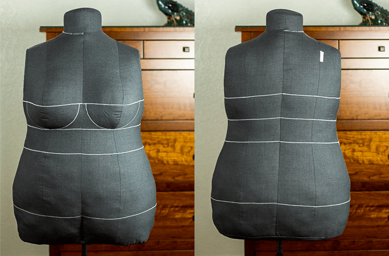 The front and back of my DIY dress form.